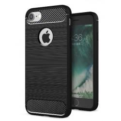 Apple iPhone 7/8 - Housse en silicone carbone noir