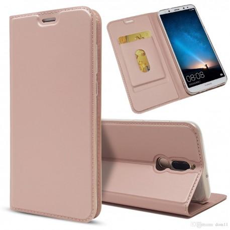 Apple iPhone X / XS Housse à clapet magnétique en cuir - GOLD PINK