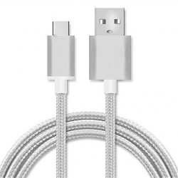 CABLE DE CHARGE - DATA TYPE-C SILVER 1M