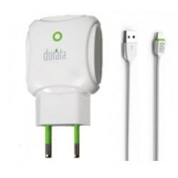 DURATA CHARGEUR MAISON DUAL USB + CABLE MICRO-USB BLANC DR-55M