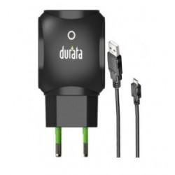 DURATA CHARGEUR MAISON DUAL USB + CABLE MICRO USB NOIR DR-55M