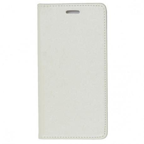 Iphone X Housse à clapet magnétique en cuir - Blanc